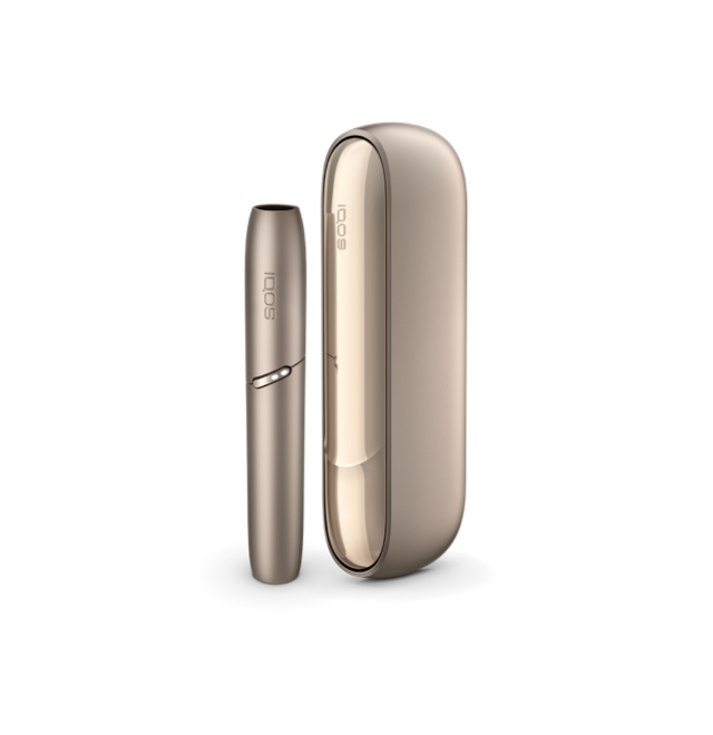 Brilliant gold IQOS 3 DUO charger and holder upright side by side